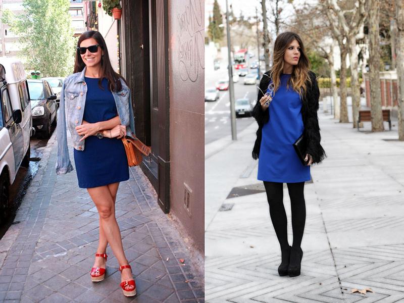 Синее платье с белыми босоножками 5