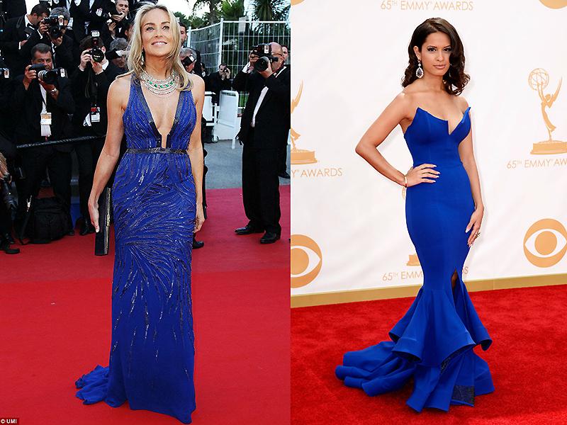 Образ синее длинное платье