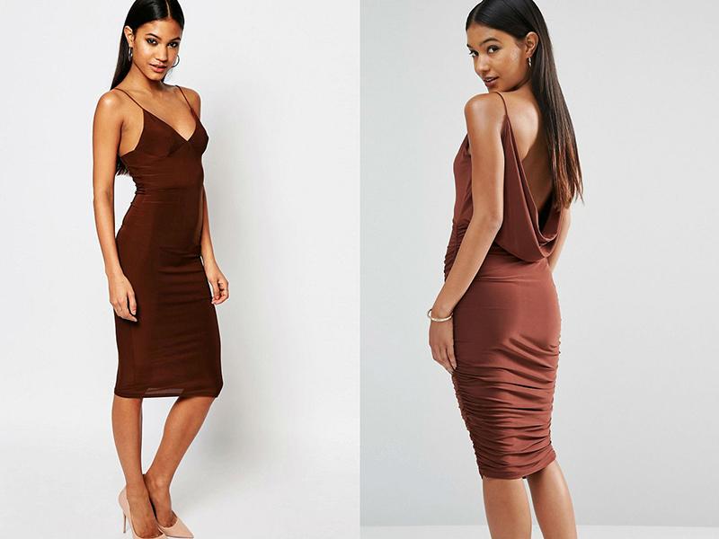 Под коричневые туфли платье