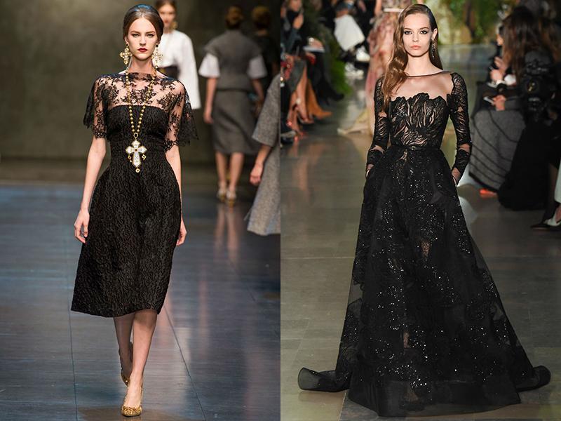 Платье с черным кружевным известных брендов