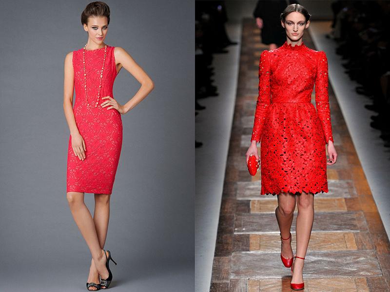 Платье из красного кружевом 115