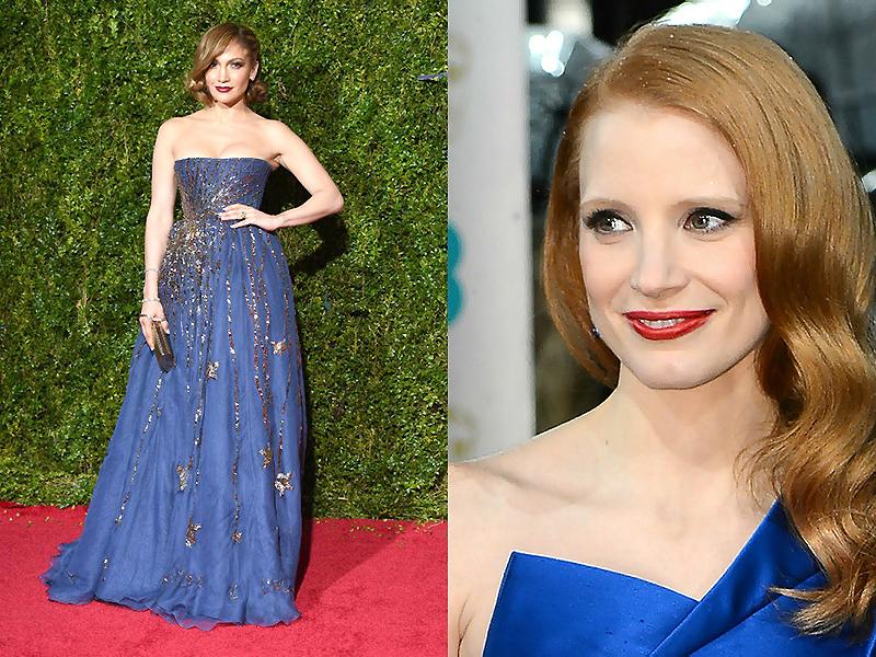 Макияж блондинки под синее платье