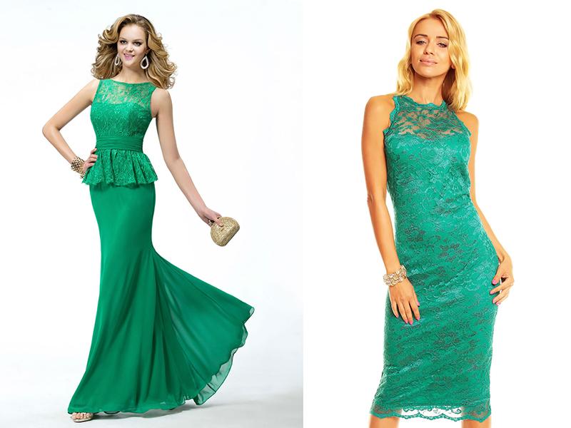 Платья зеленые с золотым