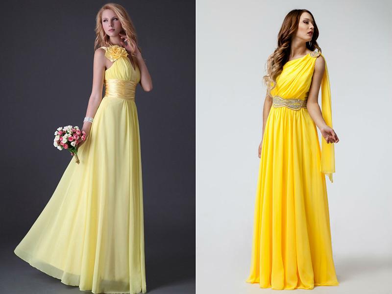 Сшить платье из желтого материала