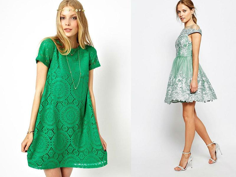 Платье зеленое с белым кружевом