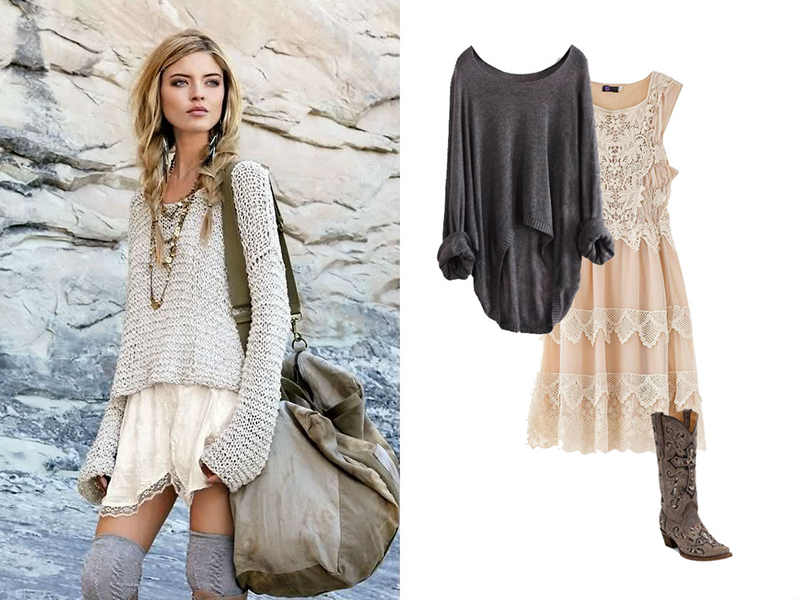 Легкое платье сапоги