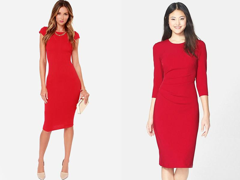 Приталенное красное платье до колен