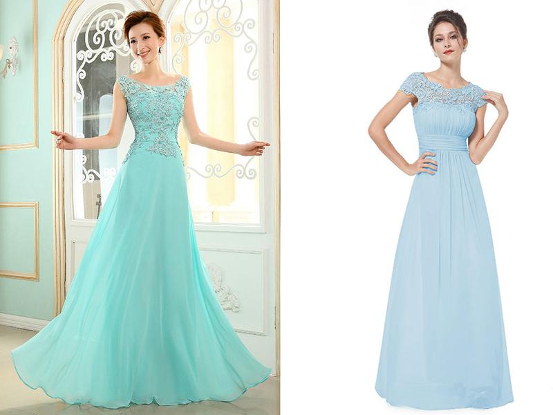 Вечернее платье длинное голубого цвета