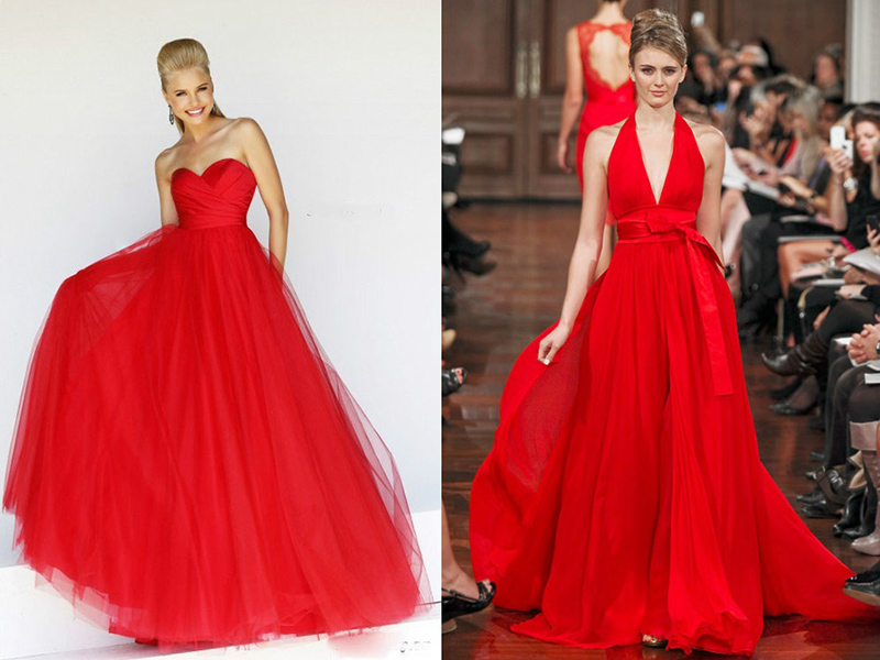 Как сшить красное длинное платье