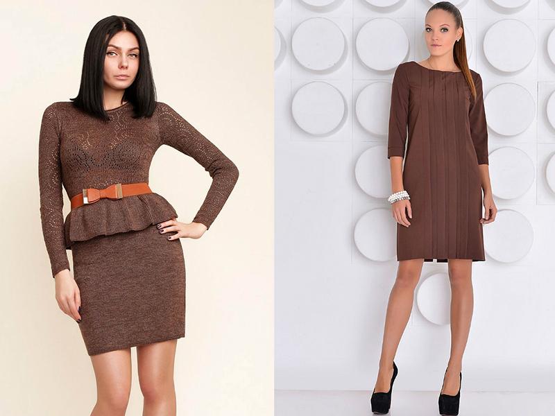 Коричневое шерстяное платье