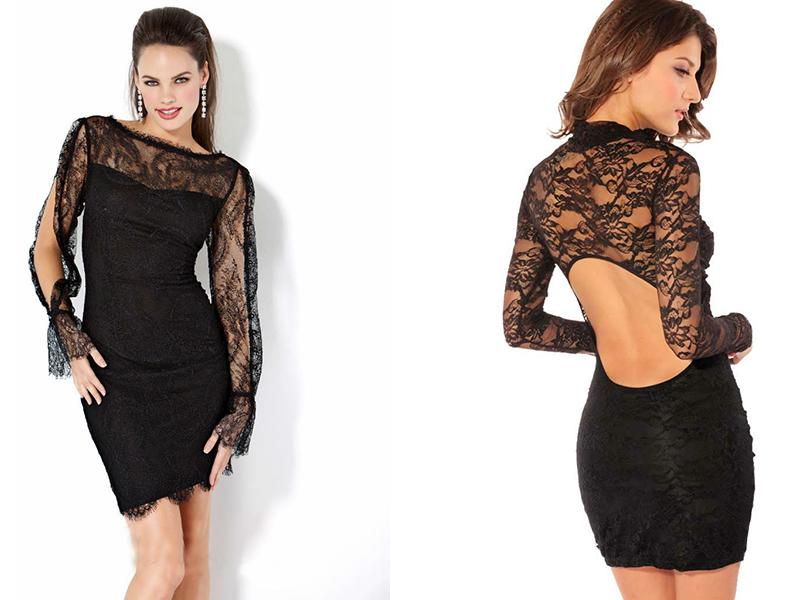 Фасон черного платья из гипюра