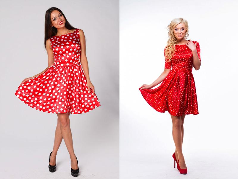Макияж под красное платье в горошек