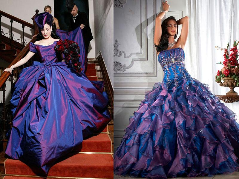 Свадебное платье белое или синее фото