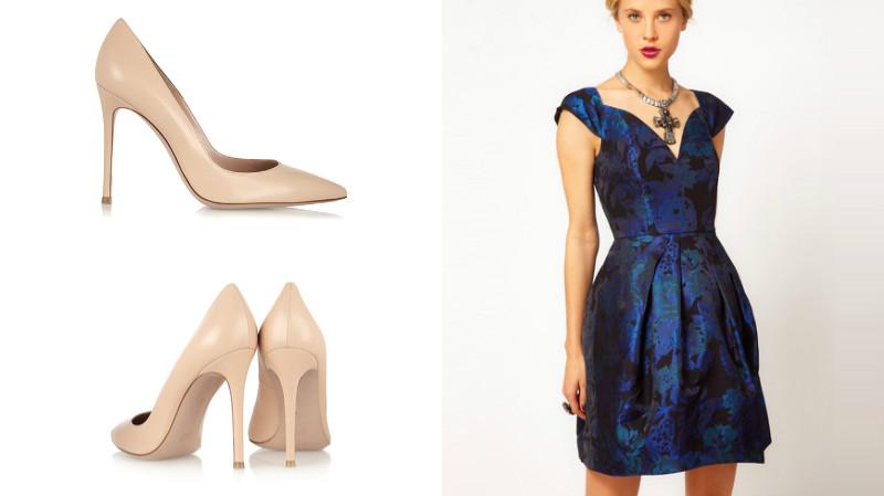 Синее платье с бежевыми туфлями