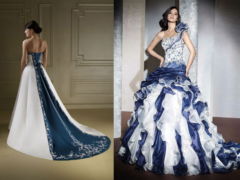Свадебные платья цвет бело-синий