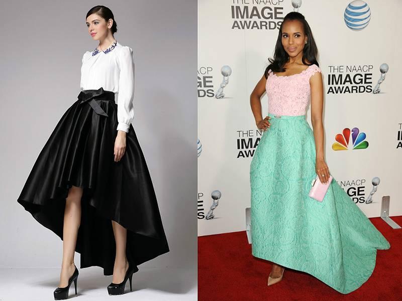 юбка со шлейфом и складками