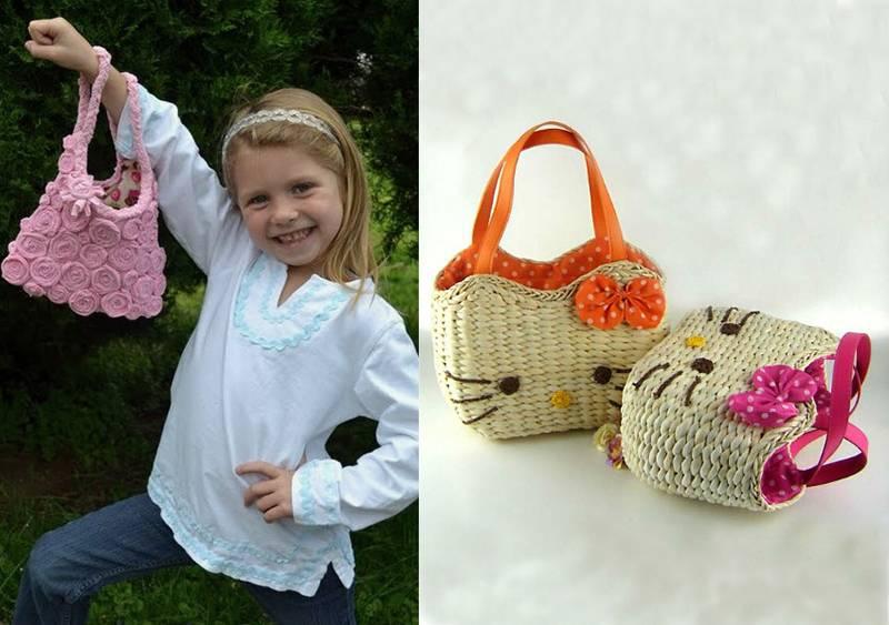 Вязаная спицами сумочка для девочки своими руками 59