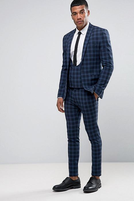 4510426fe51b8 Синий костюм в клетку (32 фото): модели для офиса, свадьбы или ...