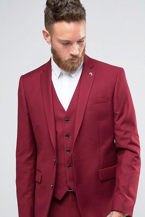 2e462365543 Мужской бордовый костюм (30 фото)  классический