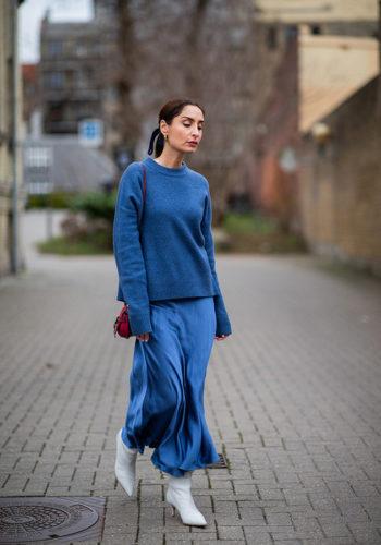 Платье Комбинация С Грубым Свитером