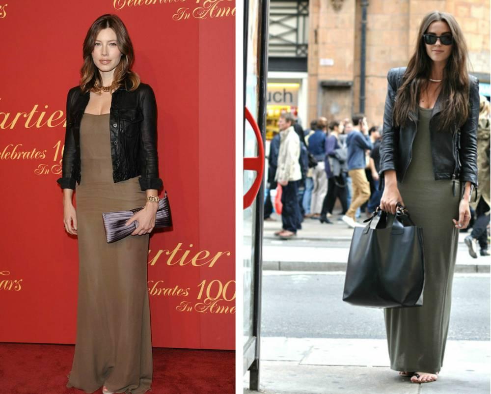 b8db02aa516 Платье с кожаной курткой  самые стильные образы