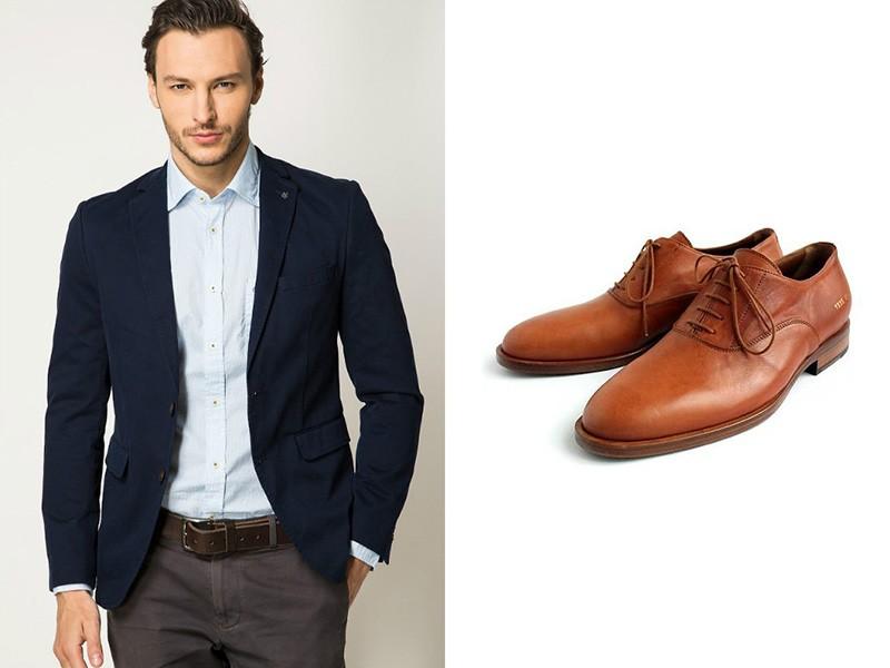 c9452dae Например, к темно-серым классическим брюкам можно надеть темно-синий  пиджак, а также белую рубашку и оксфорды рыжего цвета.