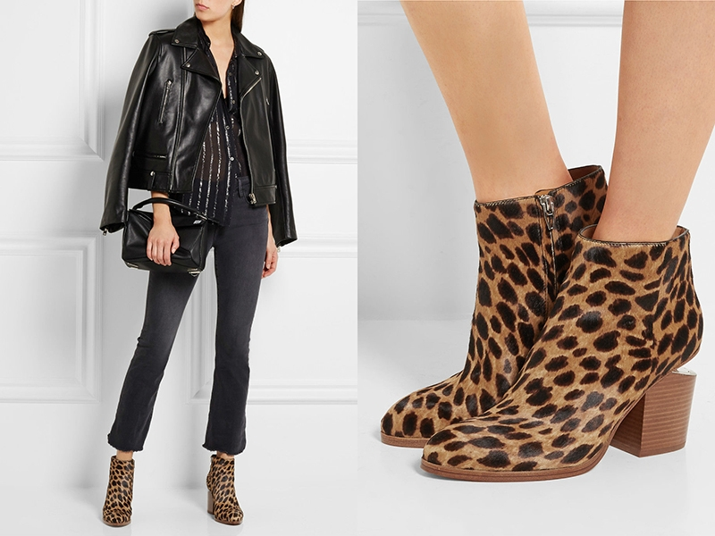 56baae12e Черные узкие брюки – это отличный «компаньон» для комбинирования с  ботильонами с леопардовым принтом. Если обувь имеет широкие голенища, то  штанины нужно ...