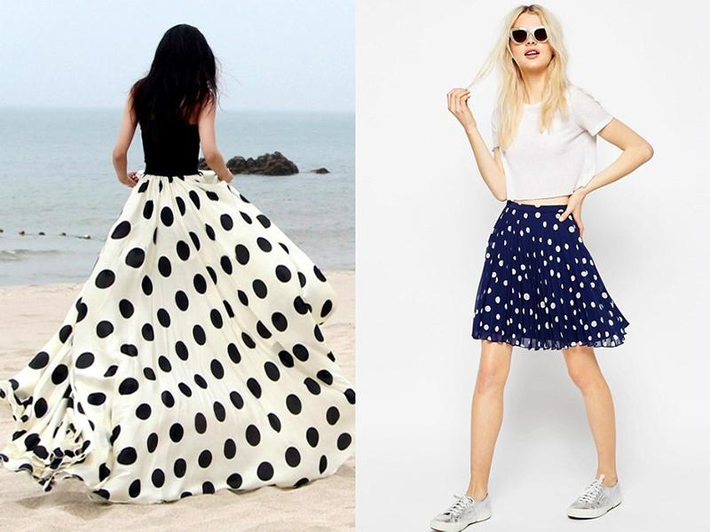 355f3672f98 Самая актуальная и модная модель – юбка-солнце в горошек. Материал