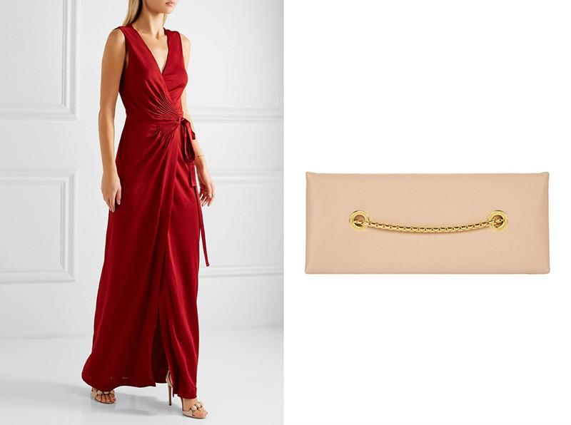 99dcc16108dd красное облегающее платье-макси с вырезом на спине наденем с открытыми  бежевыми босоножками. Дополним образ бежевым клатчем и широким золотым  браслетом.