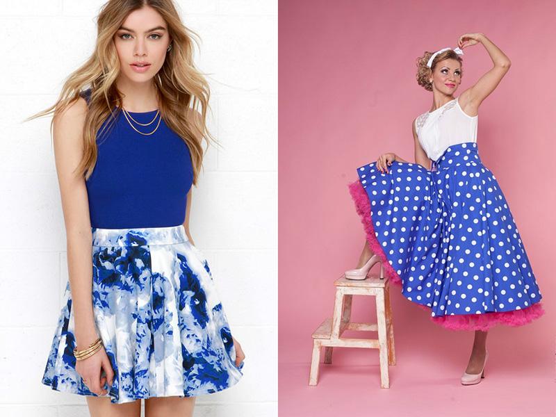 f6f355f0630 Замечательно сидит юбка из плотного шелка – она опускается от талии, делая  облик особенно утонченным. Синие образцы с цветами, полосами и в горох  пользуются ...