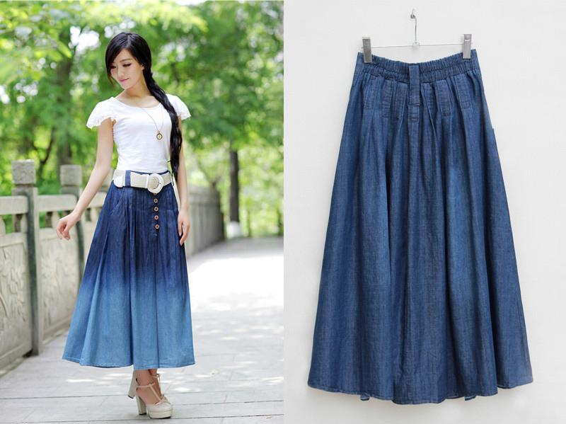 c1b4632d1c3 В осенне-зимний период джинсовую юбку с широкой резинкой дополнит пуловер  или джемпер