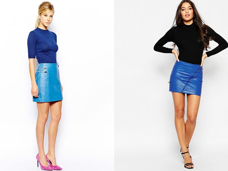 f4c9f5cf5139 Синяя кожаная юбка: модницам на заметку | Мода от Кутюр.Ru