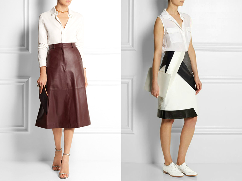 21ee7ba80fd С чем носить кожаную юбку миди  Лучше всего подойдут укороченные джемпера