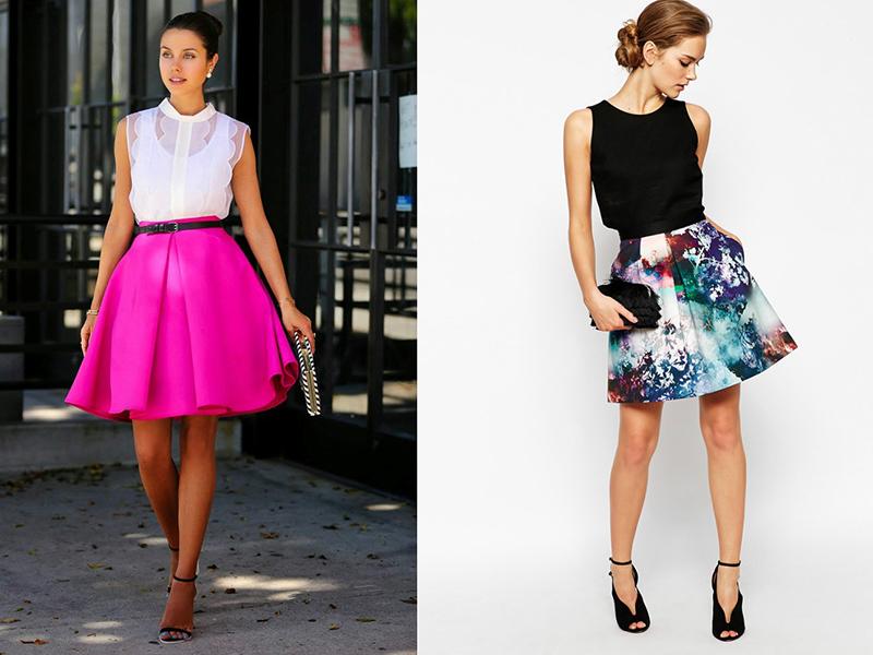 c3791630599 Отлично смотрится черная юбка-колокольчик с кожаными вставками и с широким  поясом, которая делает акцент на изящности женской талии. Такая юбка с  высокой ...