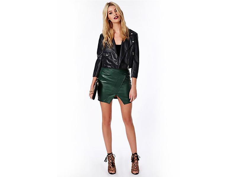 f8ad8c77c52 Зеленая кожаная юбка  правильно сочетаем и носим