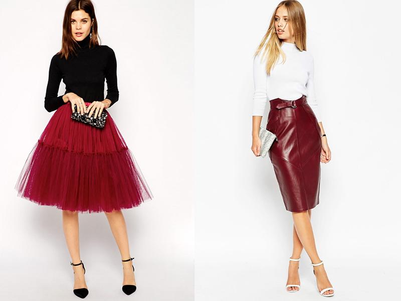 76218786d6e Красная юбка миди  особенности модели и правила комбинирования ...