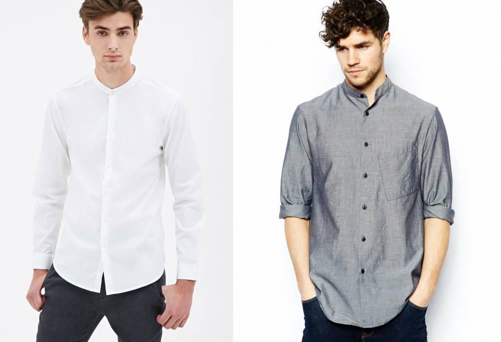 7c163bf6dc5 Мужские рубашки с воротником стойкой  модный тренд сезона