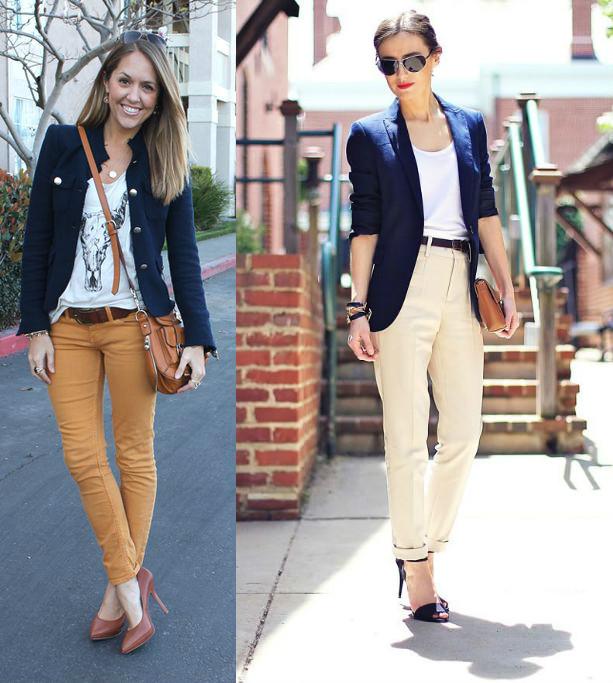 С чем носить бежевые джинсы фото