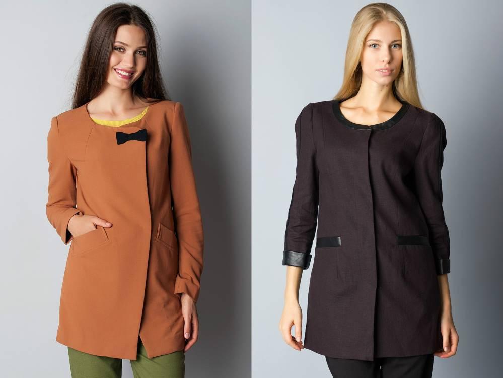 3511d907c02 Шикарной и изящной вещью является удлиненный пиджак без воротника. Такие модели  носят ...