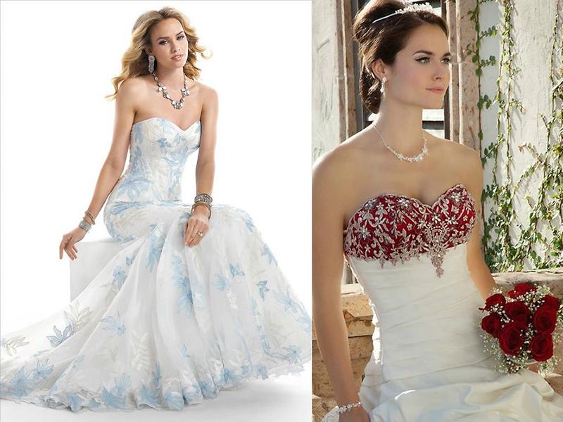 c69b9d0228e9733 Если невесте хочется яркости, то она может выбрать наряд с цветной  отделкой. Великолепно смотрятся белые свадебные платья с отделкой алым,  синим, зеленым, ...