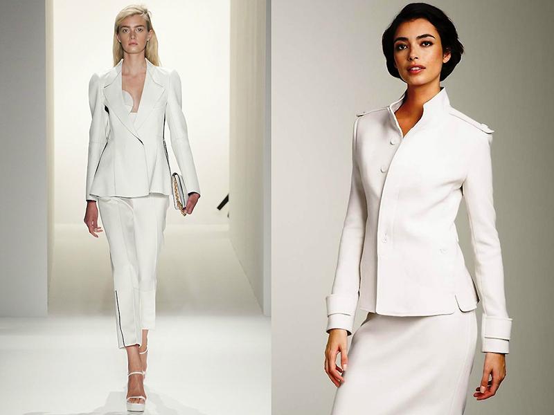 3878f5a24d8956f Белый деловой костюм – вещь не слишком практичная, но для торжественного  случая она вполне подходит. В обычные дни, жакет и юбку (брюки) можно  носить по ...