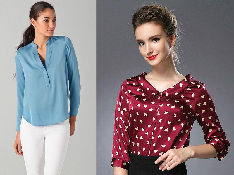 429f85117fb Чаще всего цветовая палитра блуз из шелка представлена однотонными  вариантами