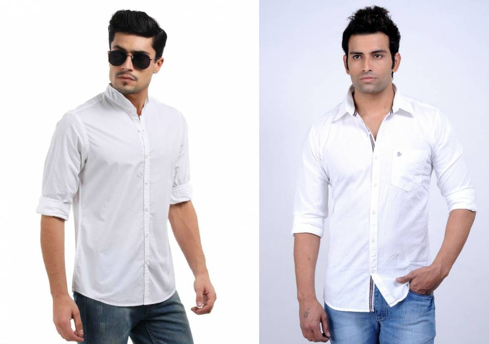 2d3d6461233 Мужская белая рубашка с джинсами  все особенности комплектования ...