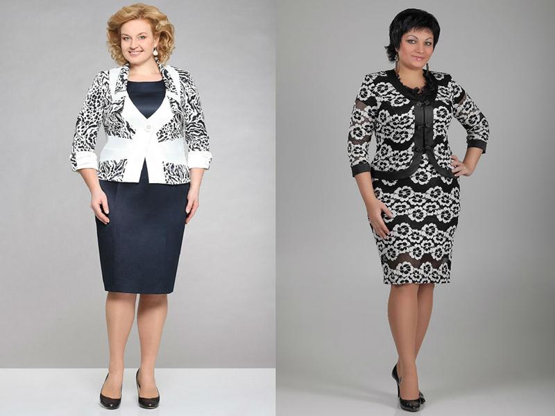 aae1008081f Зачастую комплекты для пышной дамы имеют форму приталенного платья-футляра  и изысканного короткого жакета. Наряд актуален также для женщин после 50