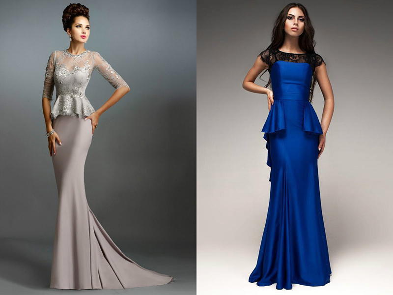 a612b1fec9118c5 Счастливые обладательницы стройных фигур, могут выбирать самые разные  фасоны платьев с баской. Только нужно учитывать свой рост.