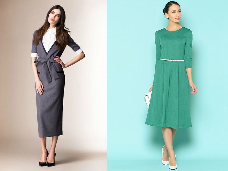 c41d9cdd724 Наиболее подходящая длина для делового платья любого фасона – миди. Носить  длинное деловое платье в офисе будет явно неудобно