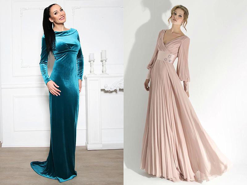539fd4005ae Наряды для выхода. Классикой моды можно считать вечерние платья в пол с длинными  рукавами.