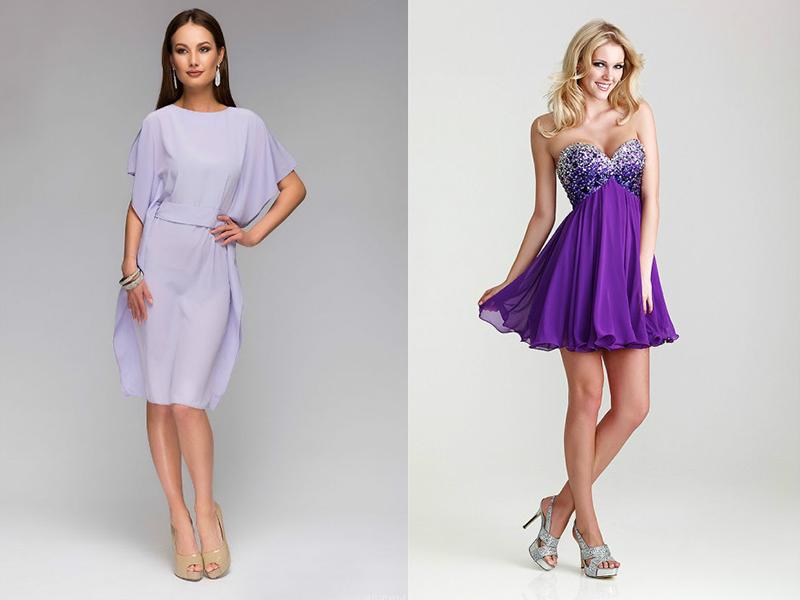 975695581208694 Великолепно смотрится сиреневое коктейльное платье, в котором верх и низ из  разных материалов. Лиф может быть сшит из блестящей ткани или из кружева,  ...