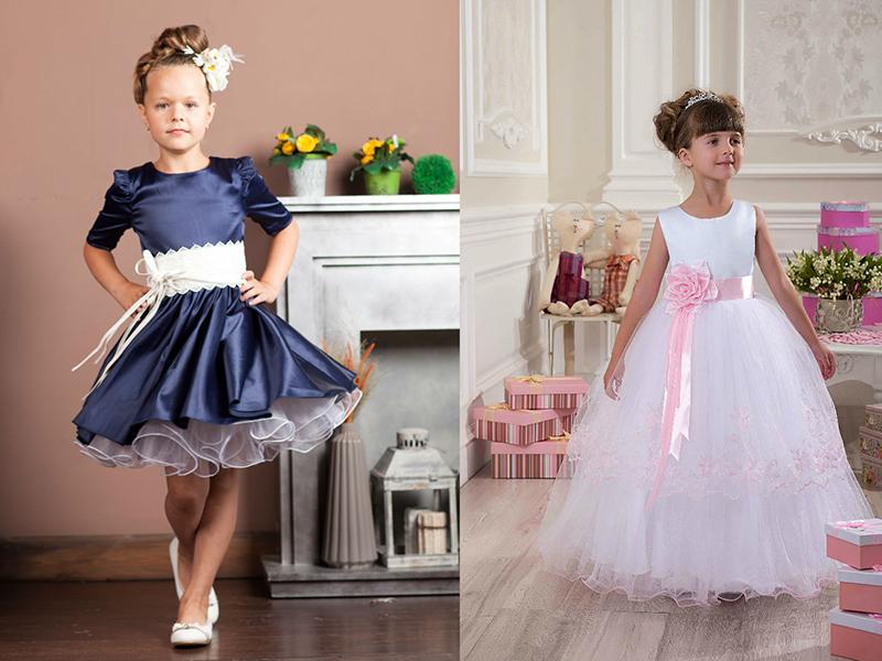 d8e59776141 Для совсем маленьких девочек подойдут короткие пышные платья с завышенной  линией талии. Оно может быть сшито из однотонной или набивной ткани.