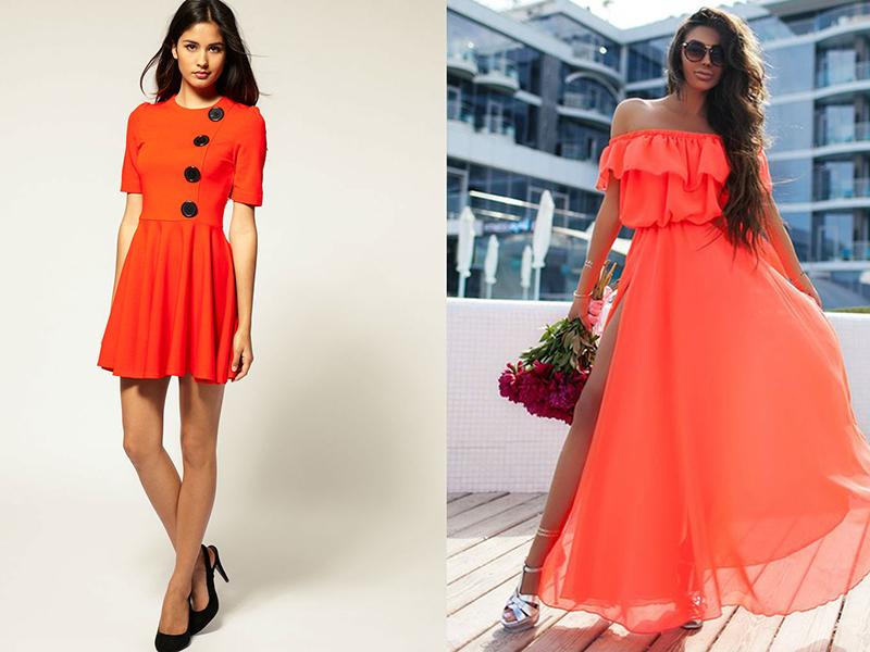 d6414b2314a38ef Но вот если приобрести модель с воротничком белого или другого контрастного  цвета либо использовать шейный платок или шарфик, то платье цвета апельсина  ...